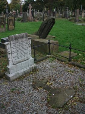 John Dobson's orginal headstone now lies on the ground