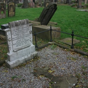 John Dobson's orginal headstone now lies on the ground
