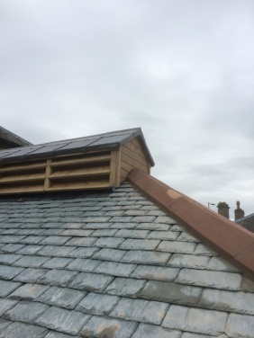 Completed kiln roof and reinstated louvre