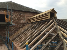 Re-roofing of the kiln in progress
