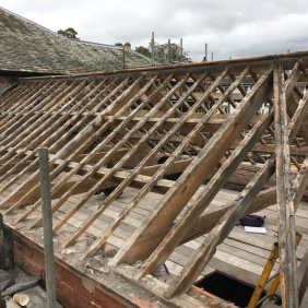 Granary roof slate stripped to enable repairs