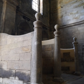 Repairs to stone stall dividers in stables